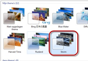 """de windows thema's met het nieuwe thema """"storm"""""""