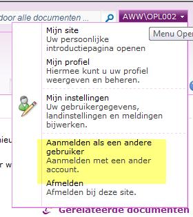 aanloggen als andere gebruiker in SP2010